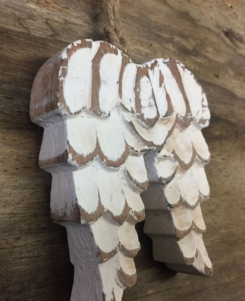 Carved Wooden White Chunky Angel Wings Christmas Tree Decoration